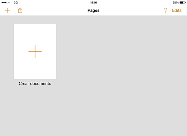Pages Crear Nuevo Documento en la Nube