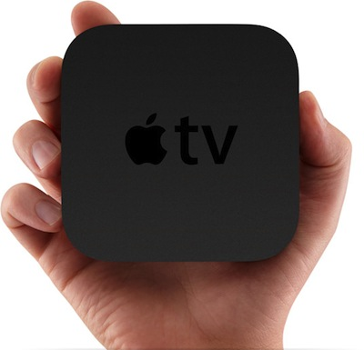 Hand holding Apple TV