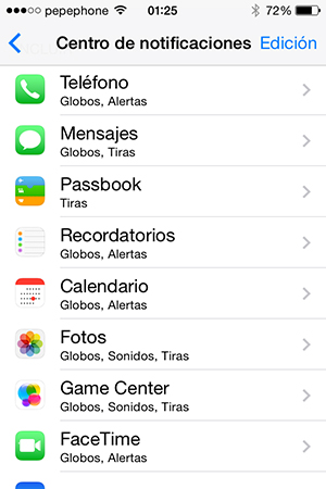 Silenciar notificaciones - centro de notificaciones
