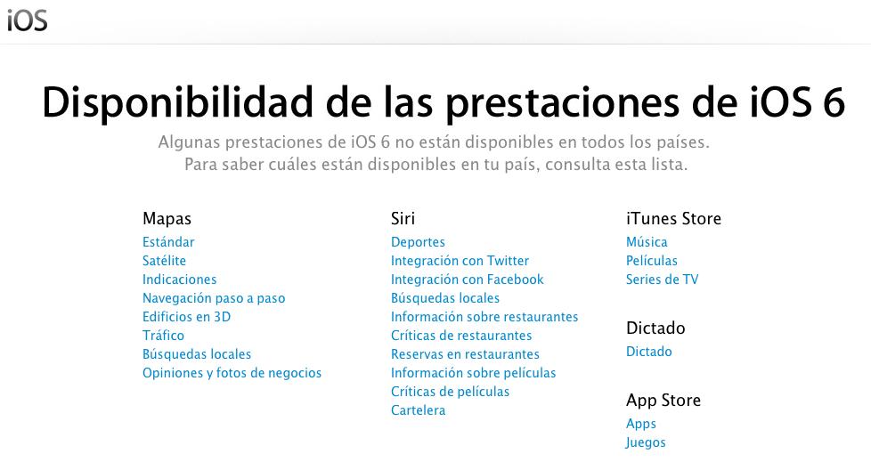 Disponibilidad de las prestaciones de iOS 6