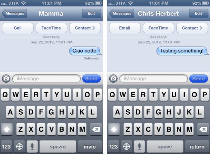 iMessages iOS 6 Language