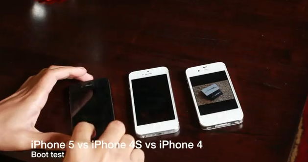 Test de arranque del iPhone 5 vs iPhone 4S vs iPhone 4