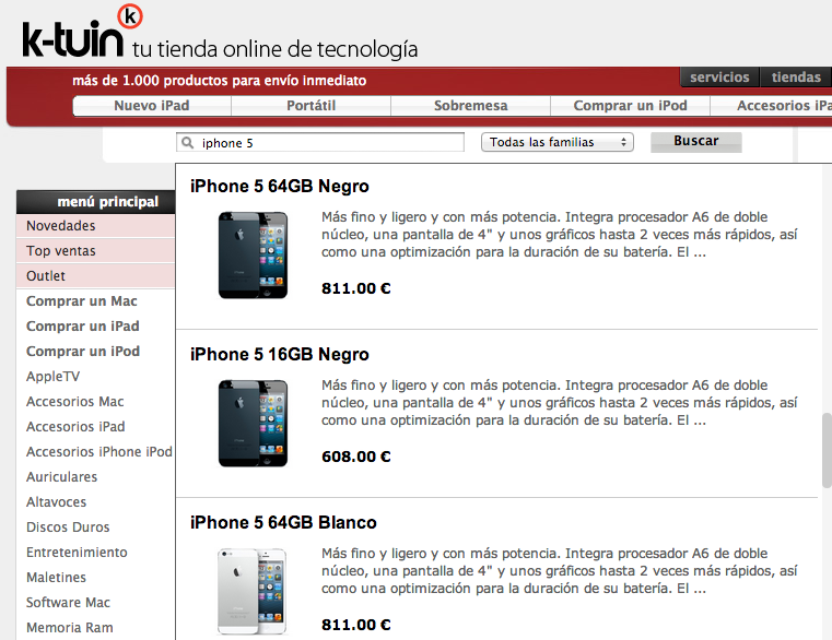 iPhone 5 K-Tuin precios