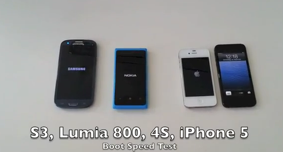 iPhone 5, iPhone4S, Nokia Lumia 800, Samsung Galaxy S3 Boot Speed