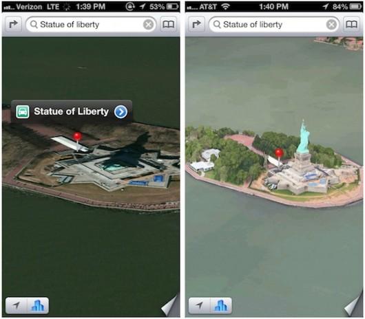 Mapas iOS 6 Estatua de la Libertad