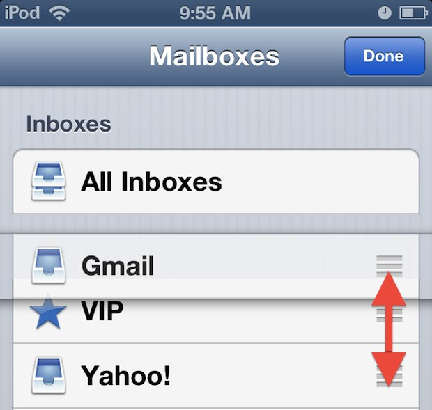 rearrange mail inboxes iOS 6