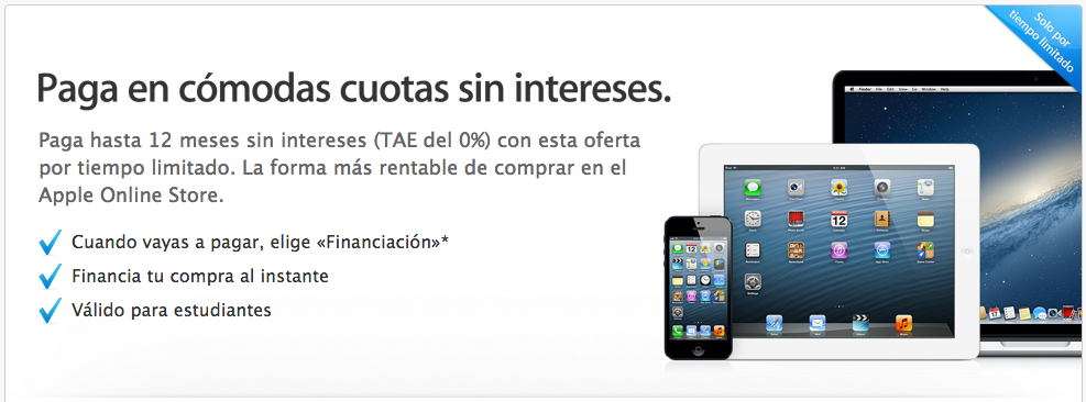 Financiacion Apple Store Online cero porciento