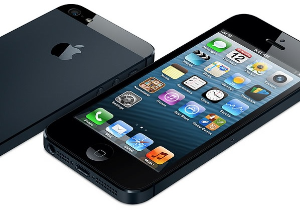 iPhone 5 black two up flat front back