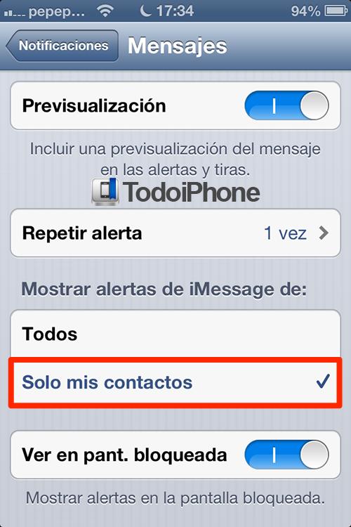Deshabilita notificaciones de mensajes de numeros desconocidos