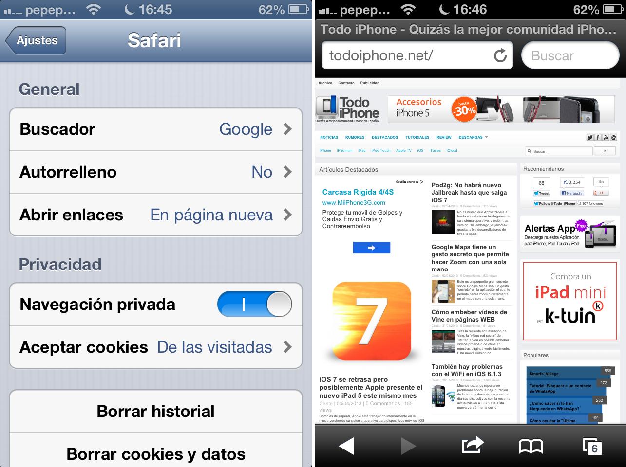 Como usar la navegación privada en iOS