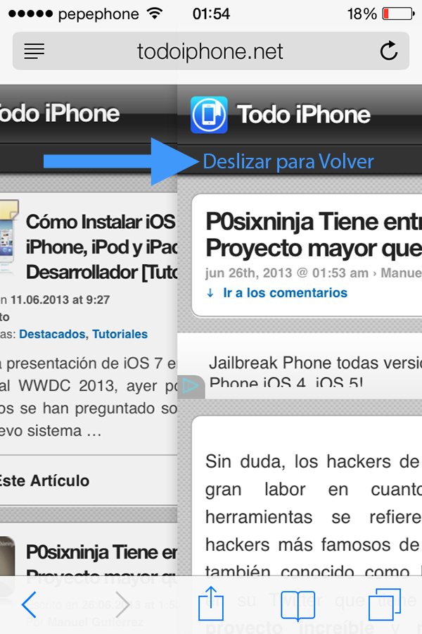 Navegación por Gestos en iPhone, iPod y iPad con iOS 7 Beta - 2