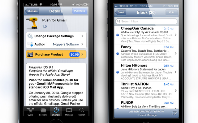 Push For Gmail Cydia Tweak