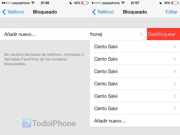 iOS 7 Bloqueo Contactos