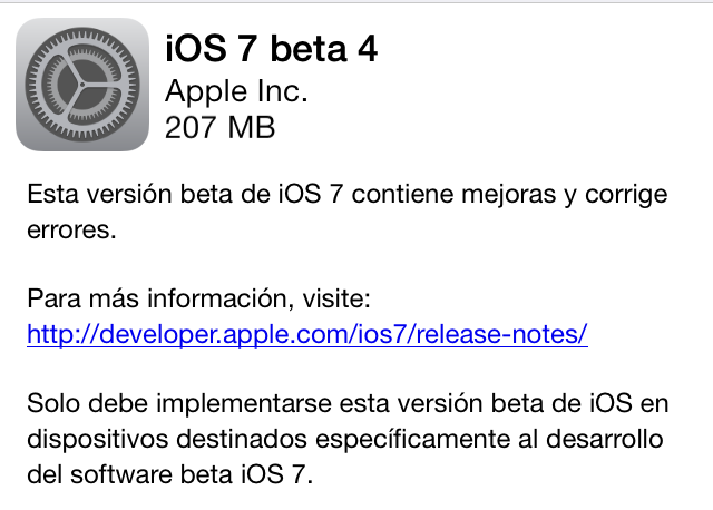 iOS 7 Beta 4 Actualización
