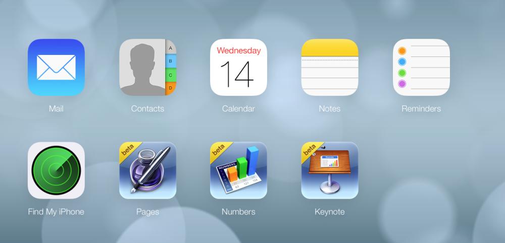 iCloud Beta iOS 7 - Home