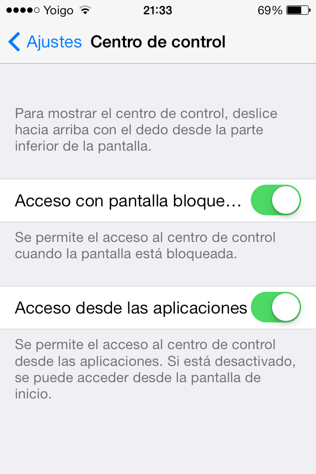 Centro de Control - iOS 7 Beta 5