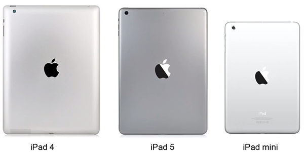 Comparativa iPad Space Gray iPad 4 iPad mini