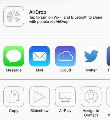 iOS 7 Fotos Menu Compartir