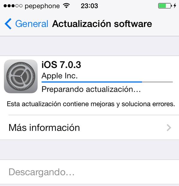 Actualizacion iOS 7.0.3
