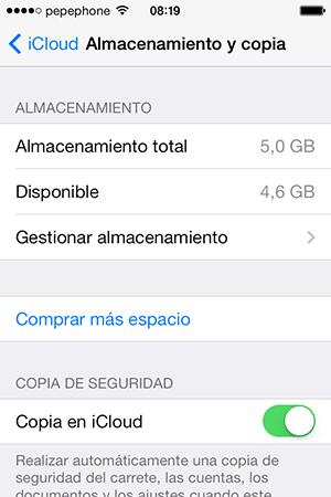 Almacenamiento y Copia iCloud iOS 7