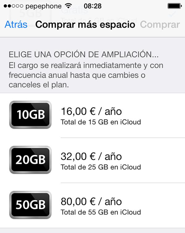 Compra Espacio iCloud iOS 7