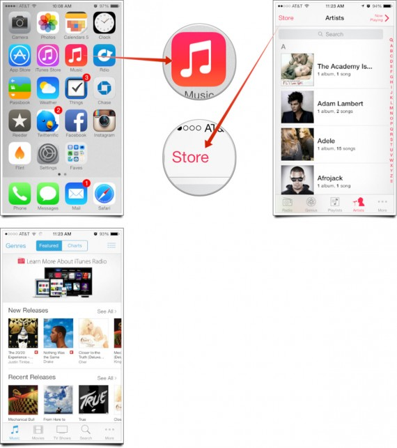iOS 7 iTunes Store Crash - Acceder App Musica