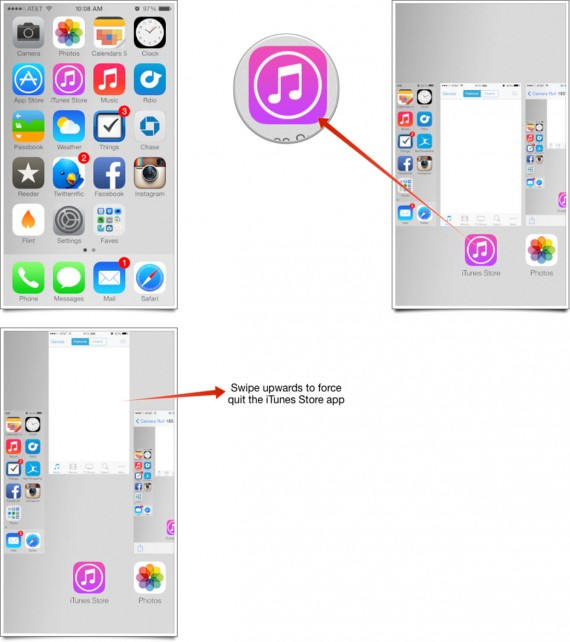 iOS 7 iTunes Store Crash - Cerrar App