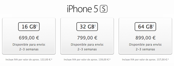 iPhone 5s - Capacidades