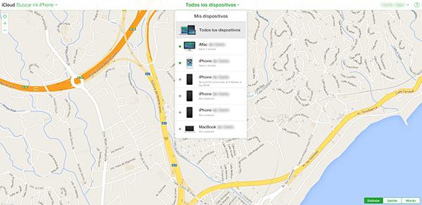 Buscar mi iPhone - iCloud Web - Mis Dispositivos