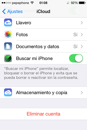 Habilitar Buscar mi iPhone en iPhone iPad - screenshot 2