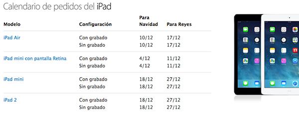 Tiempos Entrega iPad Air