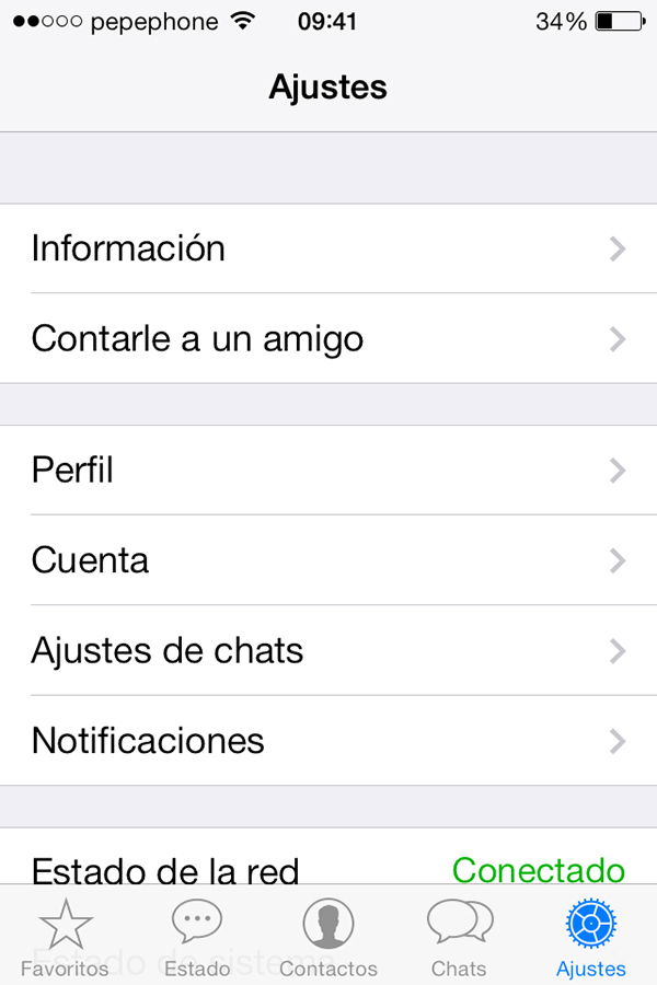 WhatsApp iOS 7 - Ajustes
