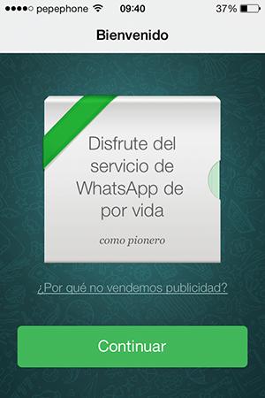 WhatsApp iOS 7 - Bienvenidos