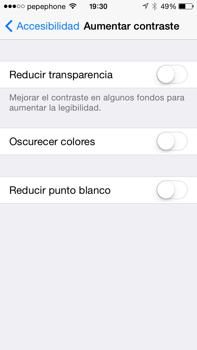 Aumentar Contraste iOS 7.1 - screenshot 2