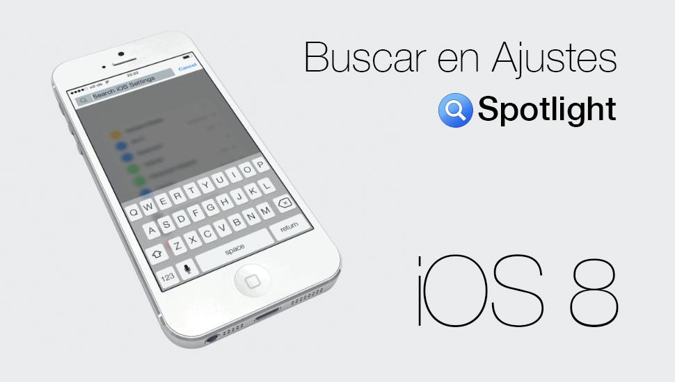 Buscar Ajustes Spotlight - iOS 8 Concepto