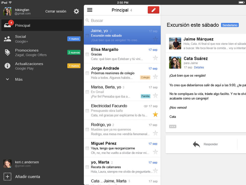 Gmail iPad - screenshot 1