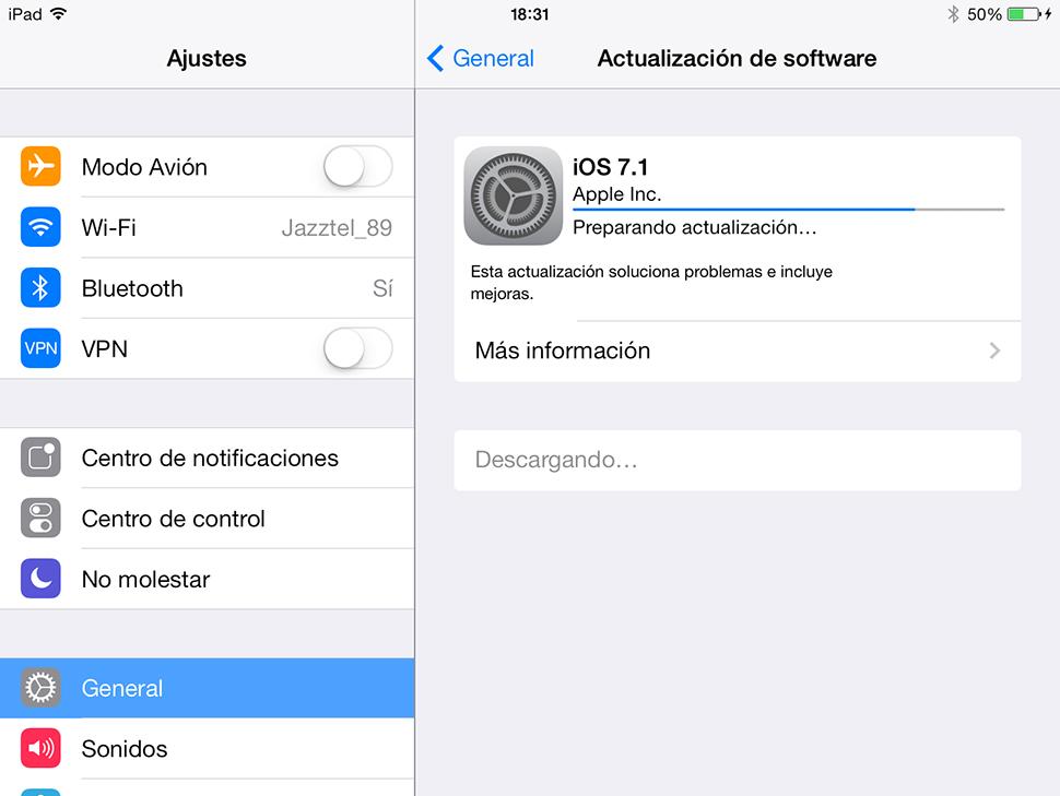 iOS 7.1 iPad - Actualizacion