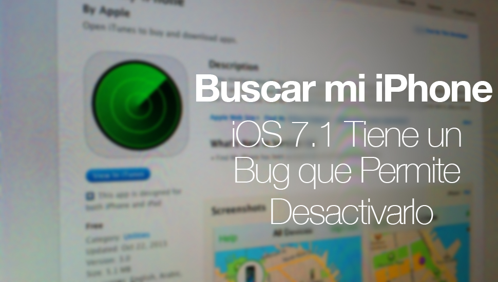 iOS 7.1 Bug Buscar mi iPhone