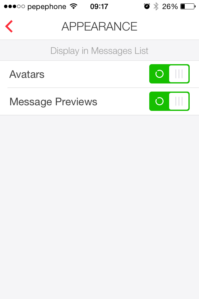 myMail - configuración apariencia