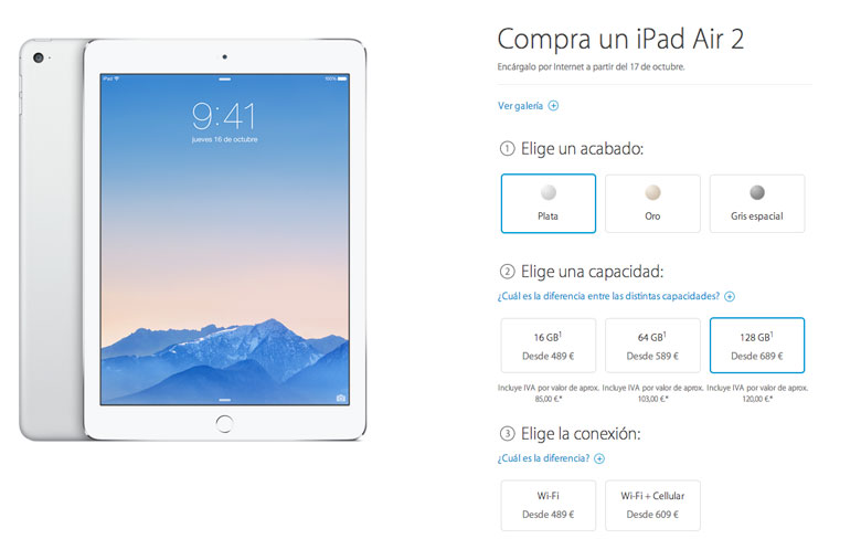 ipad air 2 y ipad mini 3 disponibles precios oficiales. Black Bedroom Furniture Sets. Home Design Ideas