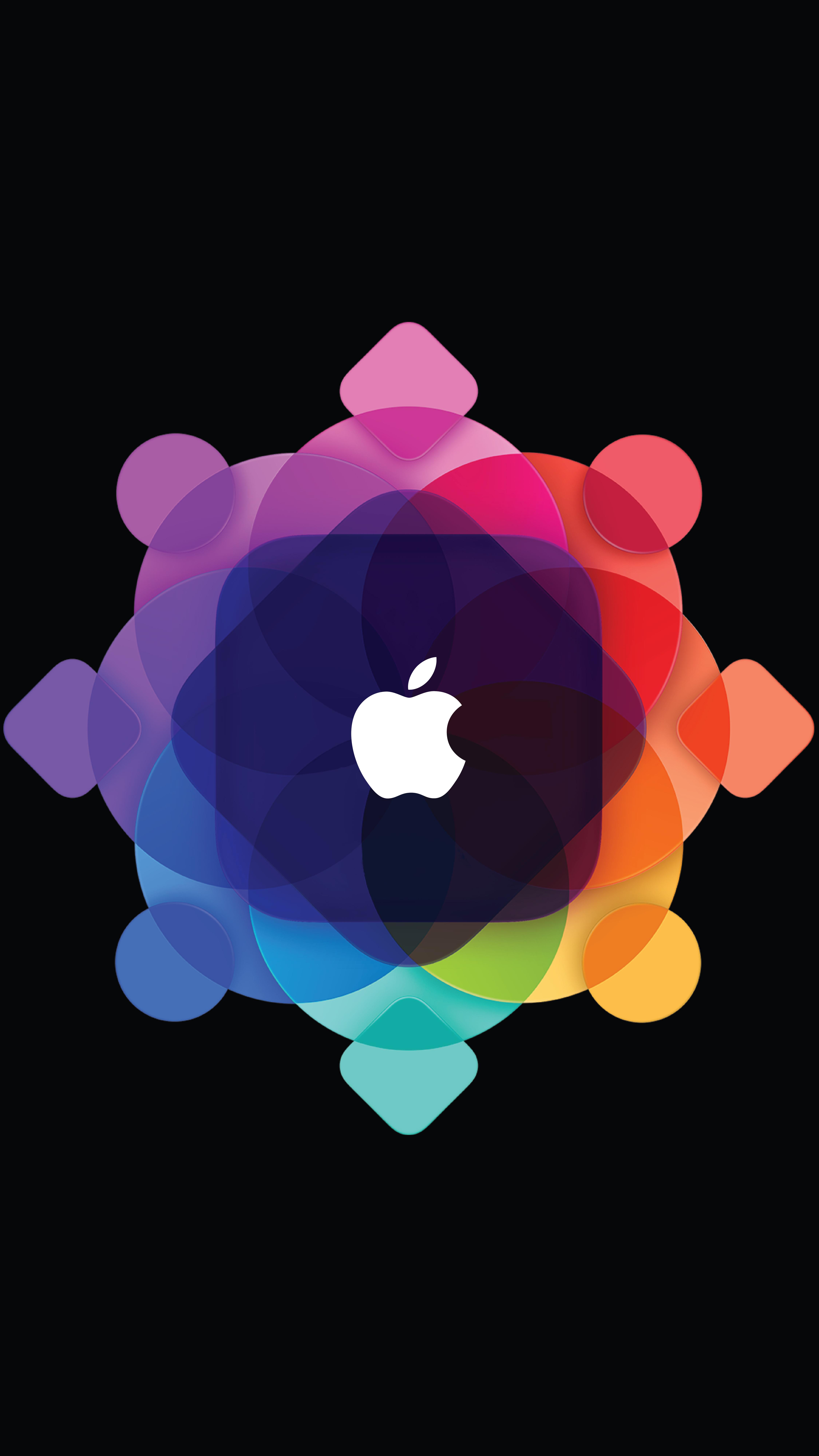 096645c89d5 ... iPhone con fondo negro, con el logo de Apple dentro del logo de la  invitación de la WWDC 15.